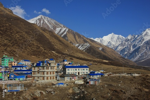 Wall Murals Nepal Hotels in Kyanjin Gumba, Nepal. Tserko Ri, popular view point and mountain in the Langtang valley. Snow covered mountain Gangchenpo.