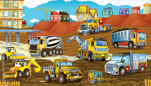 Foto op Canvas Cars cartoon scene with different happy construction site vehicles - illustration for children