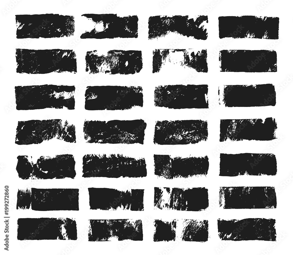 Fototapety, obrazy: Big set of rectangular text box. Grunge paint stripe. Vector brush stroke. Black grunge spots with place for your text. Spots created with paint roller and black acrylic. Elements for design.