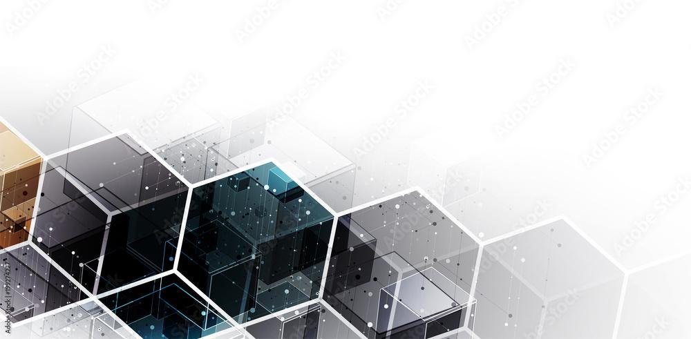 Fototapeta Digital technology world. Business virtual concept. Vector background