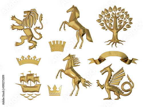 3d Illustration 3d Rendering Set Of Gold Heraldic Symbols
