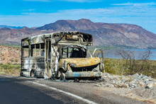 Burned School Bus On California Road