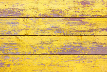 Old Wooden Shabby Yellow Background Or Texture, Part Of Rustic Fence Or Walls Of House