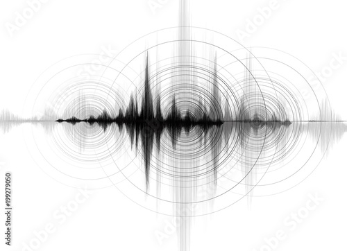 Fotografia, Obraz Earthquake Wave low richter scale with Circle Vibration on White paper background,audio wave diagram concept,design for education and science,Vector Illustration