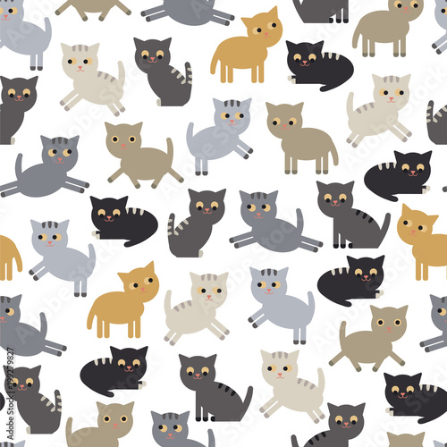 Cats seamless pattern. Funny kittens pattern for children's textiles, Wallpaper, packaging. Vector EPS 10.