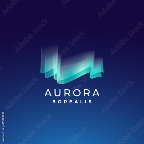 Photo  Aurora Borealis Abstract Vector Sign, Emblem or Logo Template
