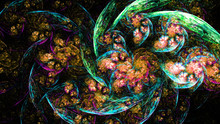 Beautiful Exotic Flowers. Floristics. 3D Surreal Illustration. Sacred Geometry. Mysterious Psychedelic Relaxation Pattern. Fractal Abstract Texture. Digital Artwork Graphic Astrology Magic