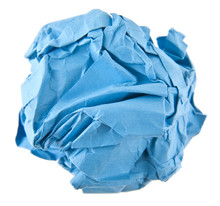 Crumpled Blue Paper Isolated On White Background