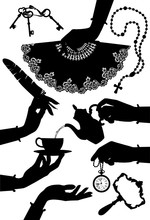 Set Of Black Vintage Silhouettes Of Woman's Hands And Accessories Isolated On White