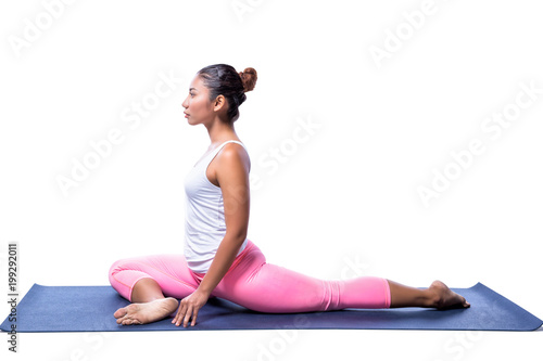 Young Indian Woman In Yoga Pose In White Clothes Isolated On White Background Buy This Stock Photo And Explore Similar Images At Adobe Stock Adobe Stock
