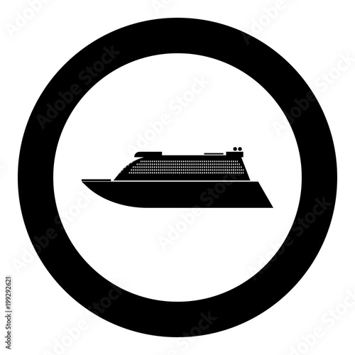 Fotografie, Obraz  Transatlantic cruise liner black icon in circle vector illustration isolated