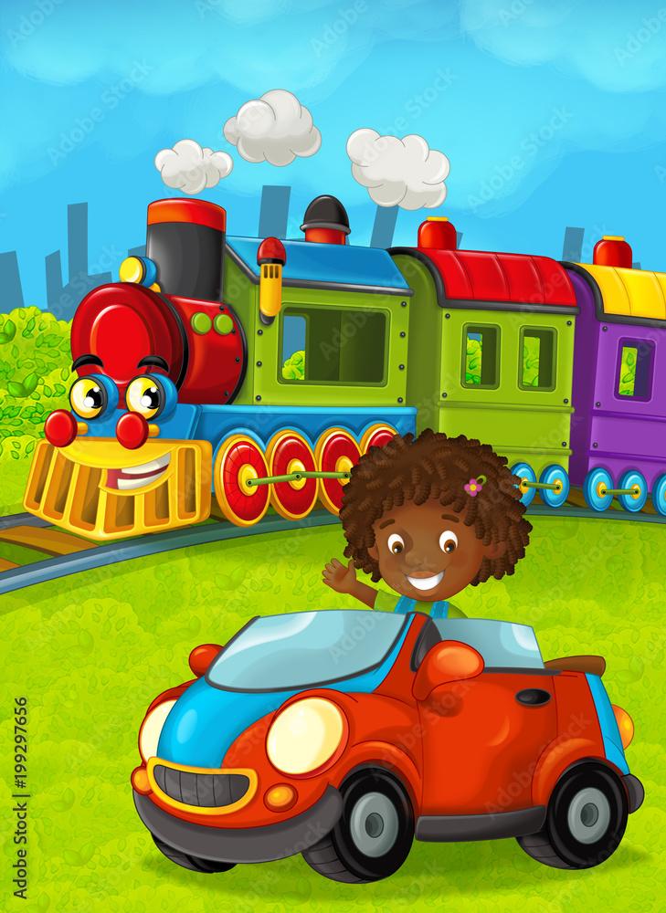 Cartoon train scene with happy kid / girl - illustration for