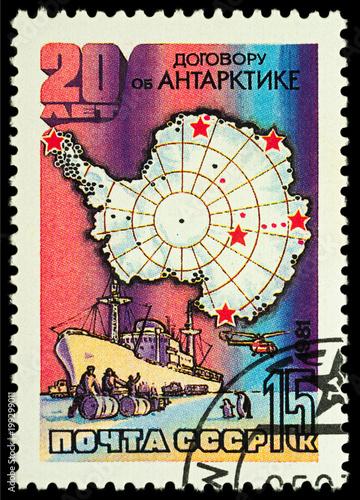 Staande foto Antarctica Map of Antarctica on postage stamp