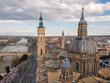 vista panorámica de Zaragoza, Spain y su basilica de El Pilar