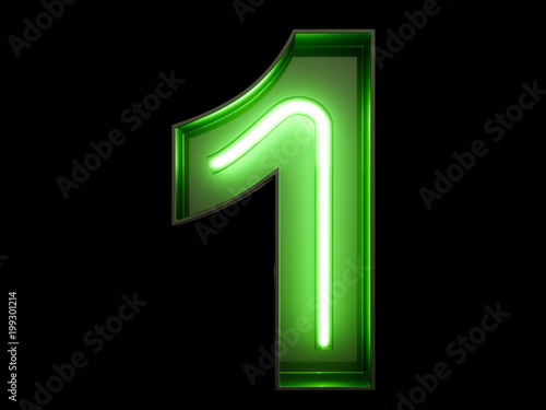 Neon Green Light Digit Alphabet Character 1 One Font Buy This