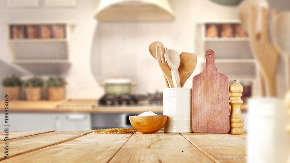 Fototapety, obrazy: desk space and kitchen interior
