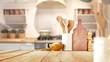 Leinwandbild Motiv desk space and kitchen interior