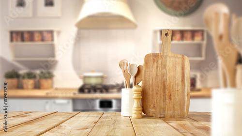Fototapeta desk space and kitchen interior  obraz
