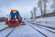 Local train before departure stands by the platform of Kultuk station. Circum-Baikal Railway. Russia.