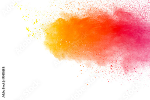 Abstract Explosion Of Orange Red Dust On White Background