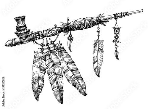 Stampa su Tela Pipe of peace drawing. Ceremonial Native American pipe