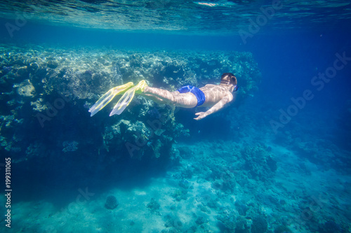 Poster Tortue Boy dive in Red sea near coral reef