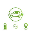 Set of icons electric car. Electric Vehicle Charging Station.
