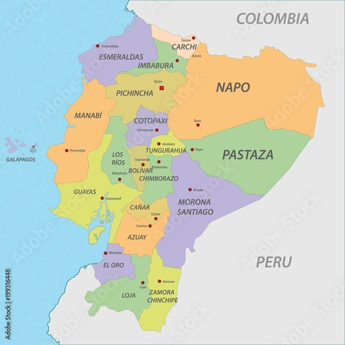 Map of Ecuador Tablou Canvas