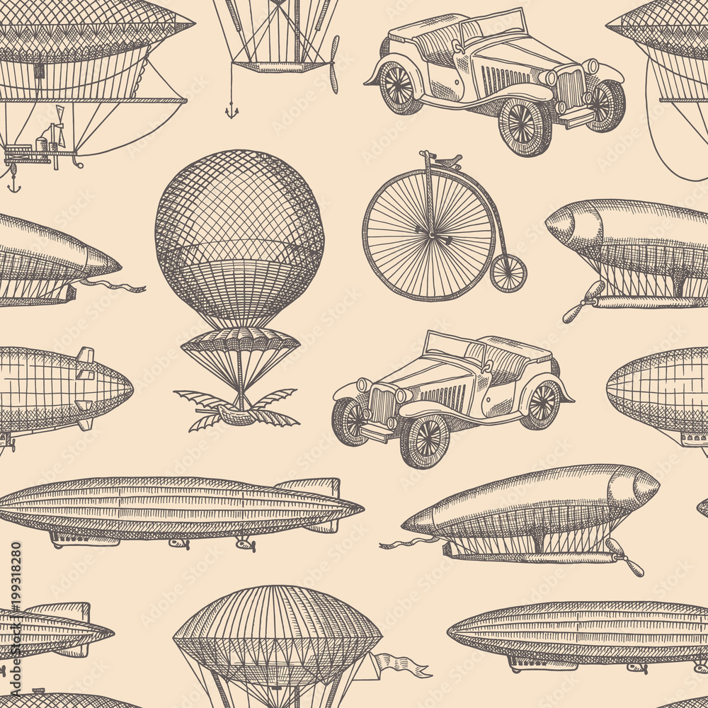 Vector pattern with steampunk hand drawn airships,