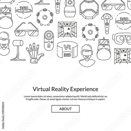 Vector background with linear style virtual reality elements Poster