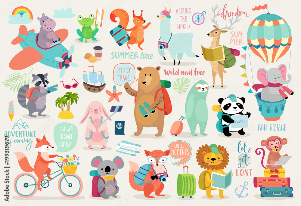 Fototapety, obrazy: Travel Animals hand drawn style, Calligraphy and other elements.