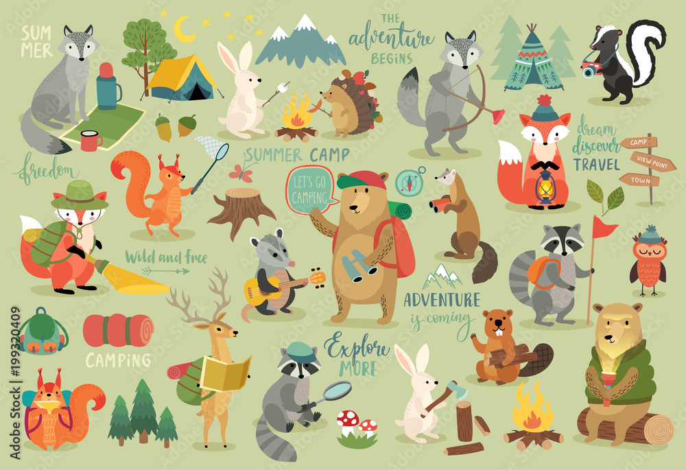 Fototapety, obrazy: Animals hand drawn style, Summer set - calligraphy and other elements.