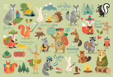 Animals Hand Drawn Style, Summer Set - Calligraphy And Other Elements.