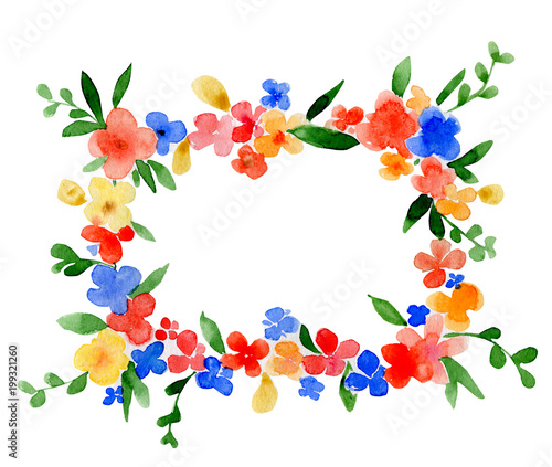c6a4166e73c Wreath watercolor rectangle frame with the place for a text. Funny flowers  and the leaves.