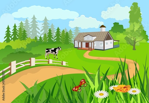 Fotobehang Lichtblauw Vector illustration of a countryside among the green hills