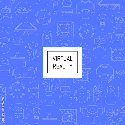 Valokuva  Vector background linear style virtual reality elements