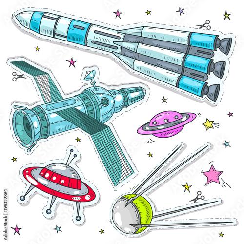 Ilustracji wektorowych komiks stylu kolorowe ikony, naklejki kosmicznym, rakiety, satelity i UFO