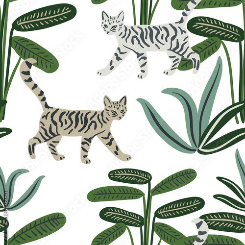obraz PCV Cats and tropical plants in the jungle on the white background. Vector seamless pattern. Pets striped and palm leaves. Exotic nature with animals. Digital illustration.