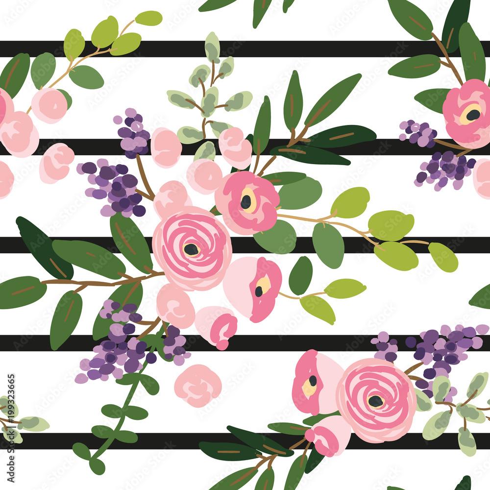 Różowi kwiaty i zieleń liści bukiety na pasiastym tle. Wektorowy bezszwowy wzór. Róża, lili, zieleń. Domek ogrodowy. Letni projekt.