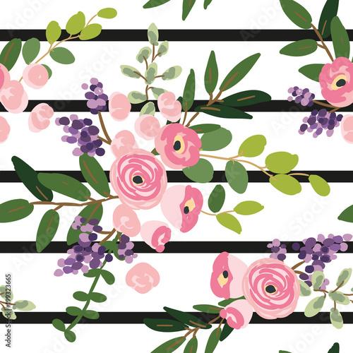 rozowi-kwiaty-i-zielen-lisci-bukiety-na-pasiastym-tle-wektorowy-bezszwowy-wzor