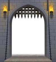 Medieval Castle Gate With A Dr...