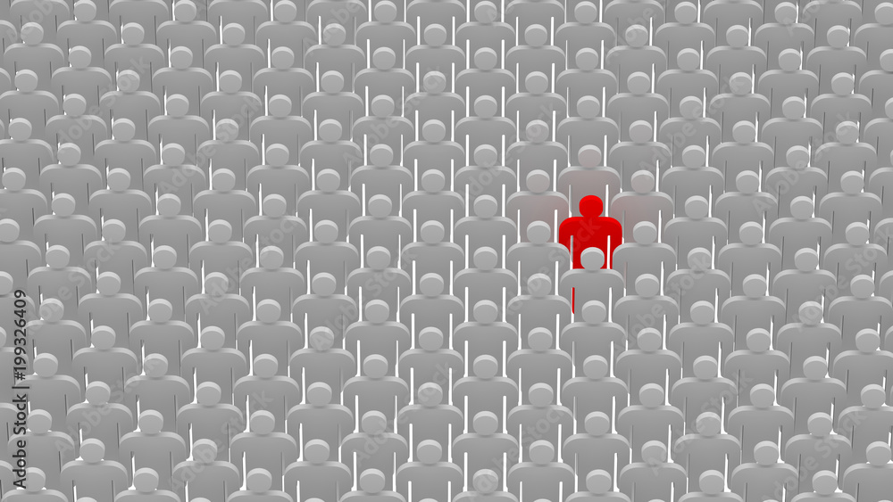 Fototapeta Red person standing in the crowd. Human concept, 3d illustration