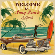 Welcome To Long Beach, California Retro Poster.