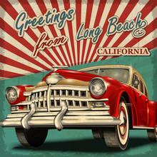 Vintage Touristic Greeting Card With Retro Car.long Beach. California.Печать