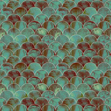Fish scale wave japanese seamless pattern - 199330200
