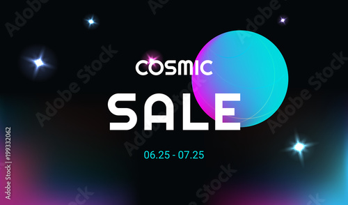 Cosmic Sale Vector Realistic And Futuristic Space Background With Bright Planet Stars Cosmos Banner