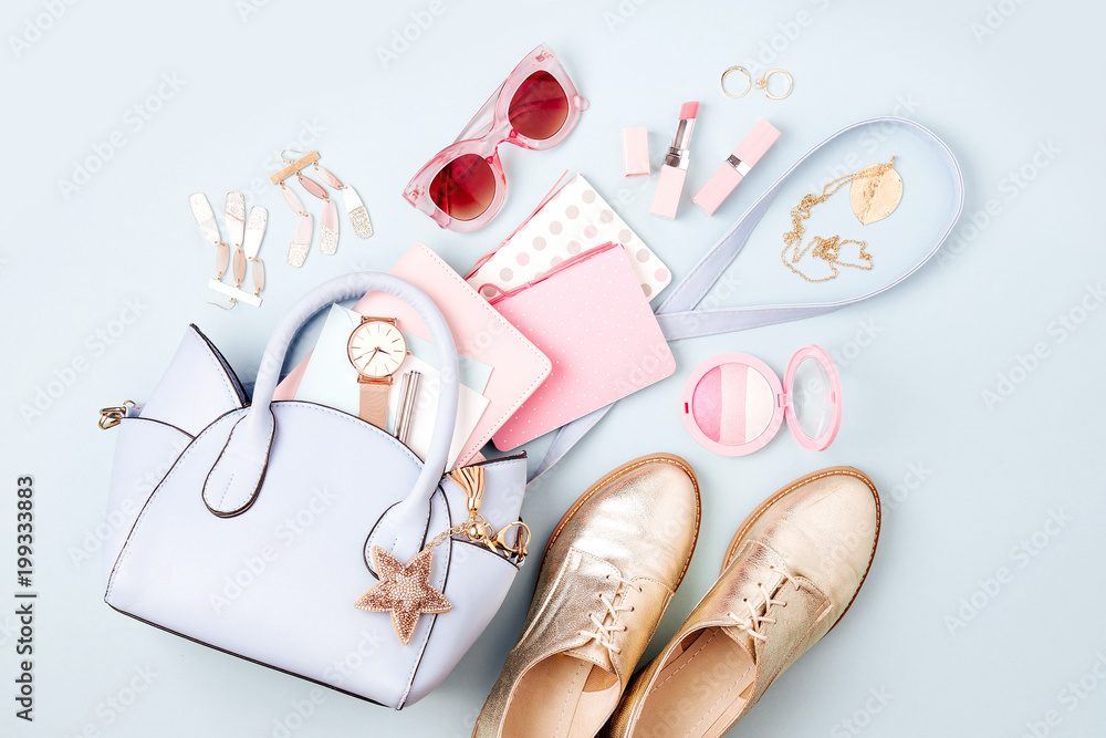 Fototapety, obrazy: Set of Feminine accessories  with handbag, watch, note, beauty products and shoes. Flat lay, top view. Fashion concept in pastel colored