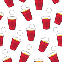 Beer Pong Vector Pattern. Red ...