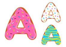 Sweet Donut Font. Letter A