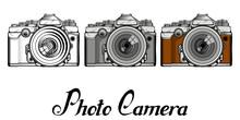 Set Of Retro Camera Logo. Vintage Photocamera. Photo Camera Isolated On White Background.